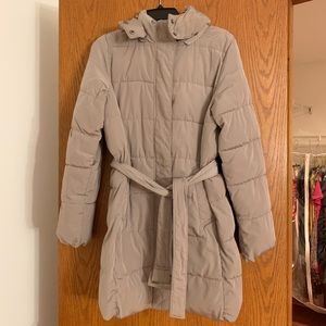 Gap Factory-Beige Knee Length Lightweight Puffer